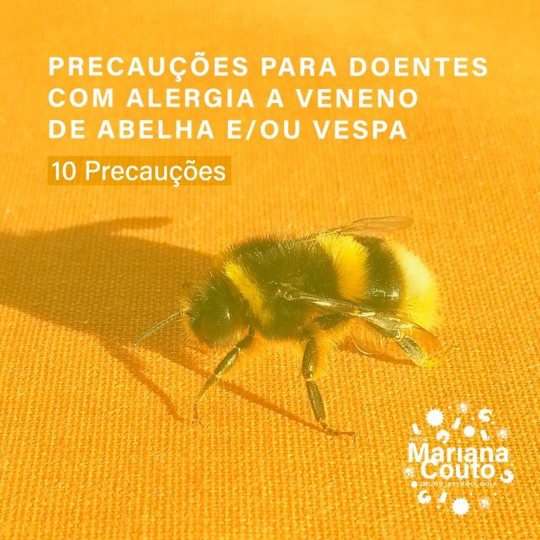 Precauções na alergia a abelhas e vespas